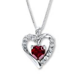 Kay heart necklace lab created ruby sterling silver