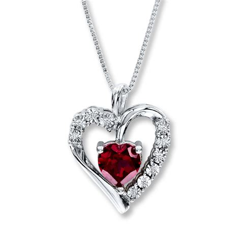 Ruby Pendant Silver Necklace necklace lab created ruby sterling silver