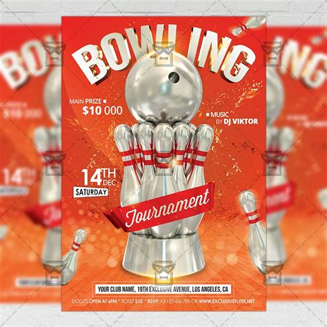 Bowling Tournament Sport A5 Flyer Template Exclsiveflyer Free And Premium Psd Templates Tournament Flyer Template