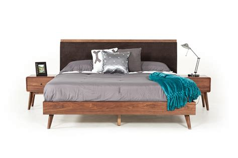 Contemporary Walnut Bedroom Furniture Modrest Marshall Mid Century Modern Brown Fabric Walnut