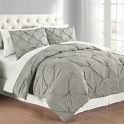 buy pintuck king comforter set in grey from bed bath beyond