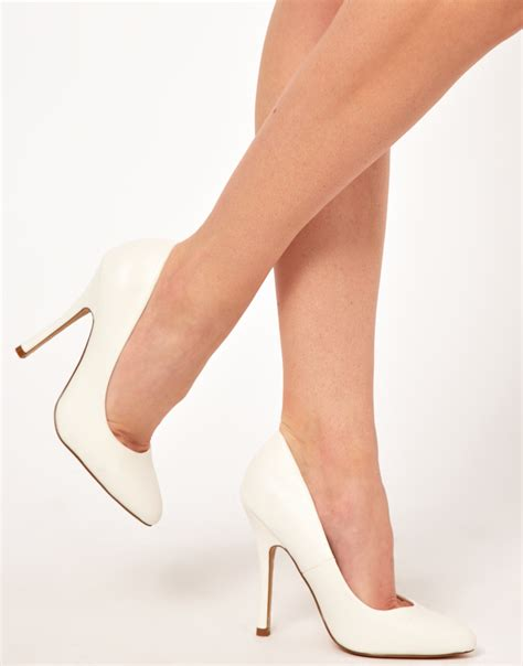 white high heels boots asos pasha high heels in white lyst