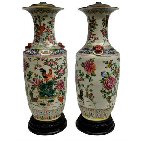 Painted Vases by Pair Of Antique Painted Vase Ls For Sale