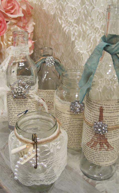 Decorating Ideas Glass Jars Vintage Shabby Chic Table Decor Set Of 5 Vintage Glass