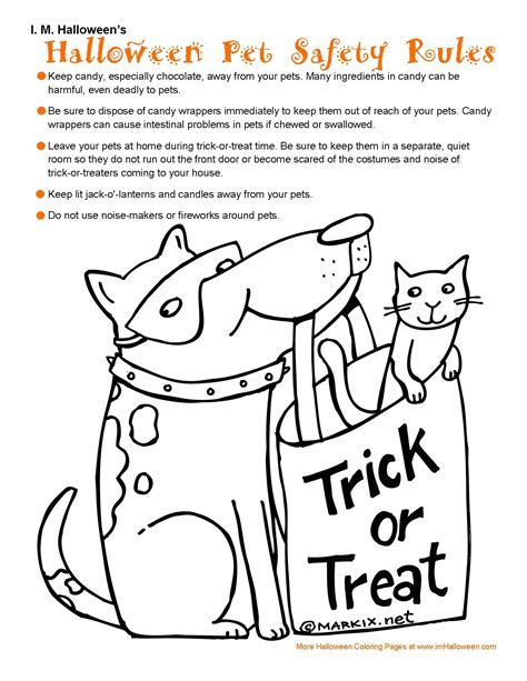 halloween pet safety rules coloring page