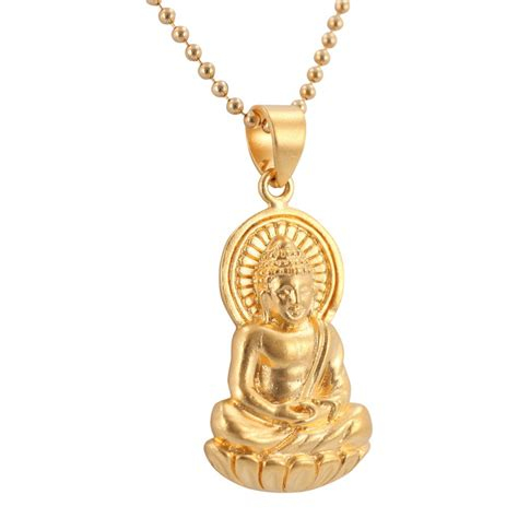 detailed sitting buddha pendant in 24k gold plated