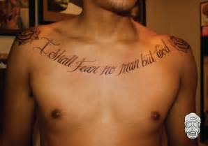 fear god tattoo i shall fear no but god chest tattoos and