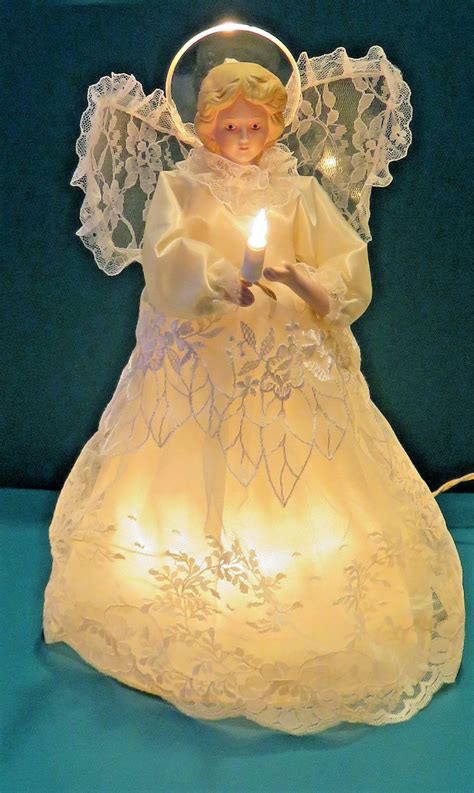 lighted tree topper vintage lighted 12 tree topper w white lace