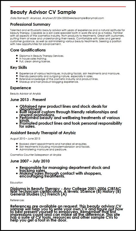 sle cv for beauty therapist sle cosmetology resume 28 images resume exles 2017