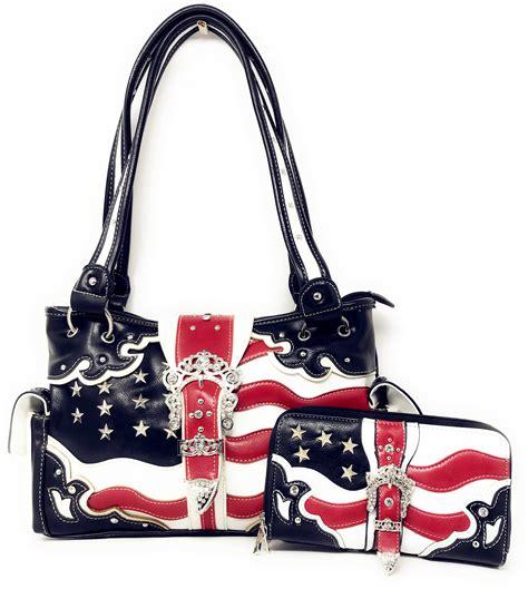 texas west american flag rhinestone women leather