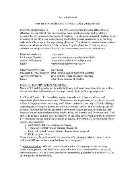 Sle Agreement For A Pa With Prescriptive Authority Physician Employment Contract Template