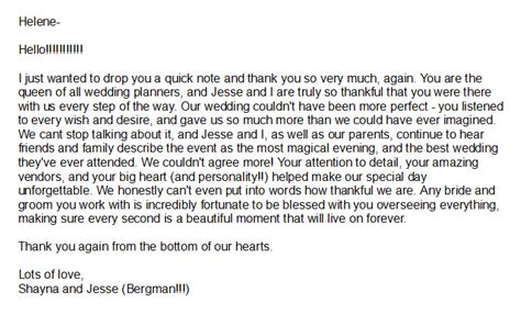 thank you letter to for wedding testimonials