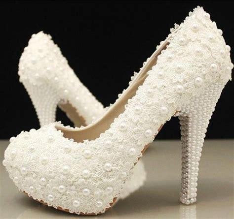 Handmade Wedding Shoes - handmade ivory lace platform wedding bridal shoes with
