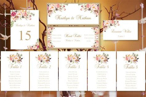 Bridal Shower Seating Chart Template by Wedding Seating Chart Set Blossoms Wedding