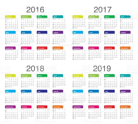 Calendario 2019 España Calend 225 De 2016 2017 2018 2019 Stock Foto Royalty Free