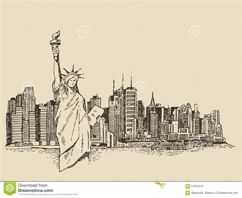 imagenes vintage libertad new york city with statue of liberty vector sketch stock
