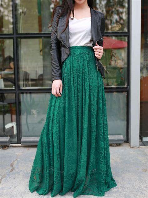jade green floor length plus size maxi skirt lace skirt