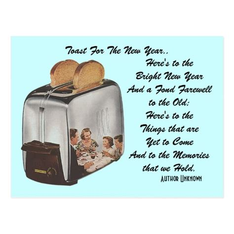 new year of the puns retro new year pun postcard vintage toast toaster zazzle