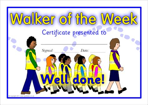 walking certificate templates walker of the week certificate sb4219 sparklebox