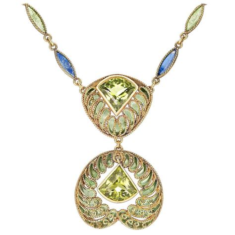 Comfort Jewelry by Louis Comfort Plique A Jour Peridot Gold Necklace