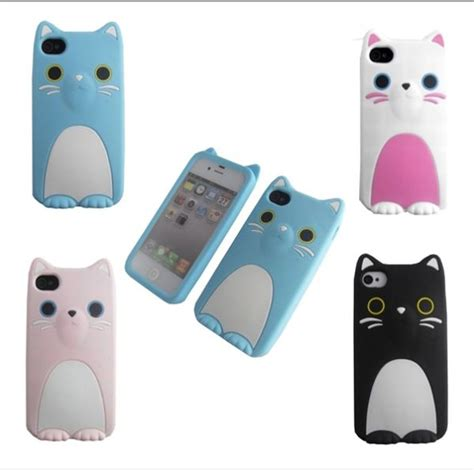 Iphone 4 4s 4g Sulley 3d Casing Silicone Armor Bumper Tpu 3d coco cat with ear soft silicone skin back cover