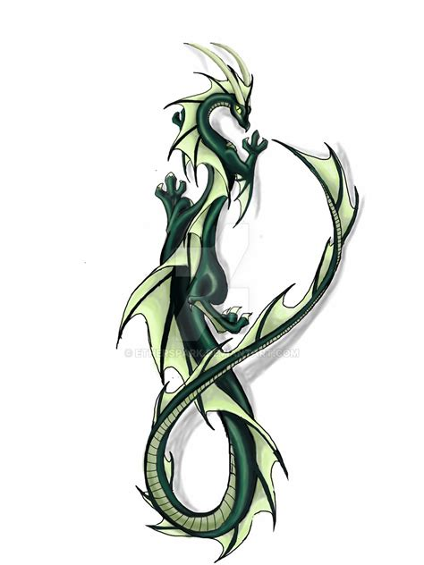 green dragon tattoo designs wingless by etherspark on deviantart