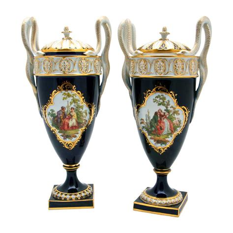 Meissen Vases by Pair Of Meissen Vases And Covers Manhattan And