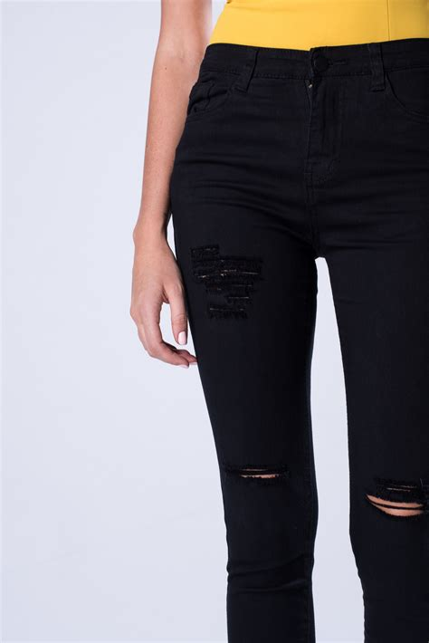Highwaist Black 4 Ripped shop black high waist ripped denim pant vs