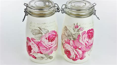 How To Decoupage Glass Jars - how to make decoupage jars fast easy tutorial diy