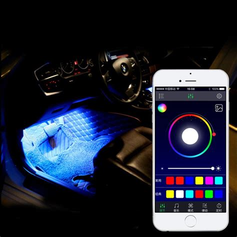 app controlled car lights 12led rgb car interior decoration atmosphere light w