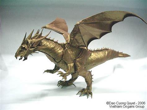 Origami Dragons - golden origami origami paper flats