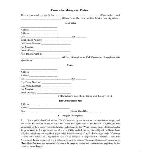 10 Sle Construction Contract Forms Sle Forms Construction Management Agreement Template