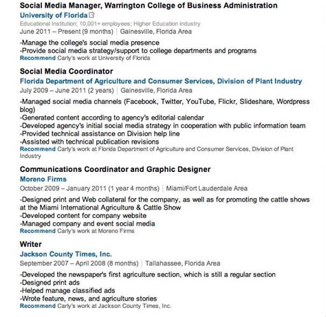 Examples Of Job Descriptions For Resumes improve your linkedin profile by listing coursework