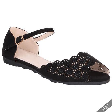 summer shoes flats womens floral cut out open peep toe flats pumps ankle