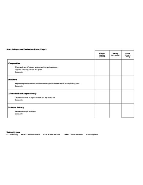Store Salesperson Evaluation Form Free Download Salesperson Evaluation Template