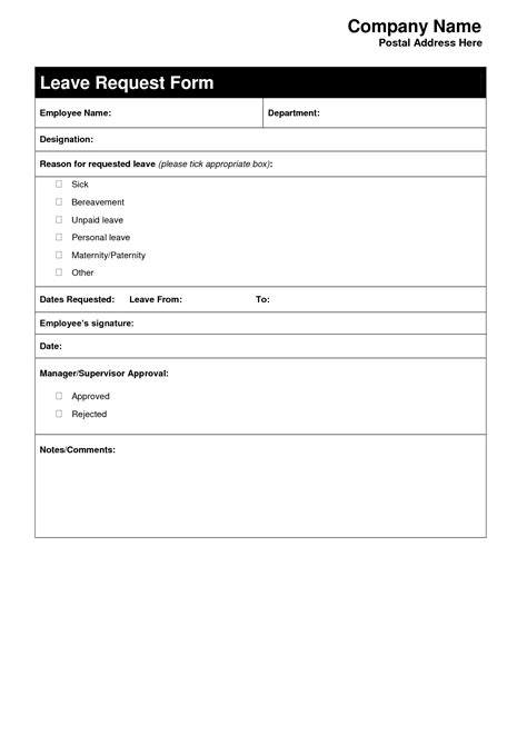 Request Letter Sle For Moral Exle Of Leave Form 46 Images Leave Application Form