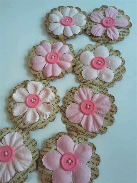 Pink flowers, Paper flowers, Scrapbooking flowers, Paper