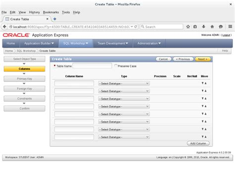 oracle apex workflow how to create a table in apex