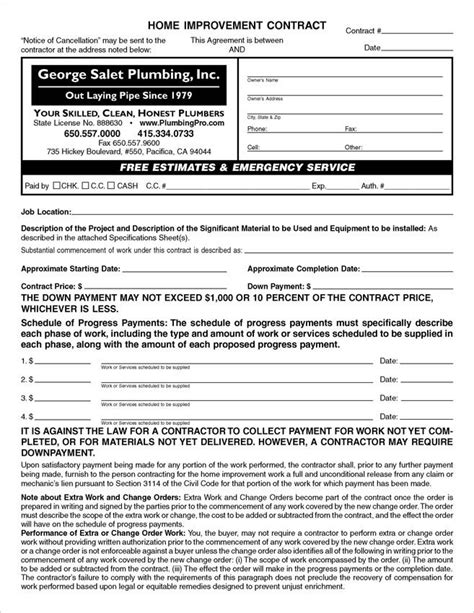 custom pdf california home improvement contracts