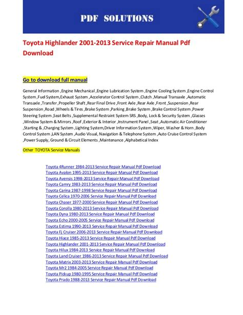how to download repair manuals 2001 toyota prius parking system toyota highlander 2001 2013 service repair manual pdf download