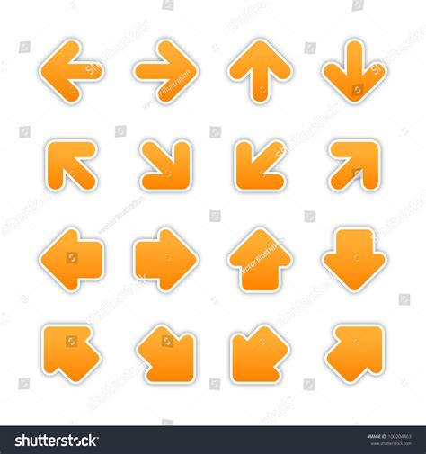 arrow label color sticker satin orange arrow sign sticker web button stock vector