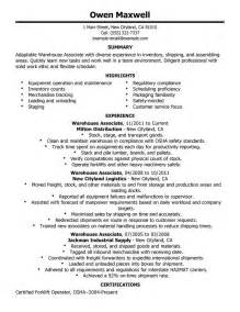 Resume Objectives For Warehouse Workers by Sle Resume Of Warehouse Worker Free Resume Templates