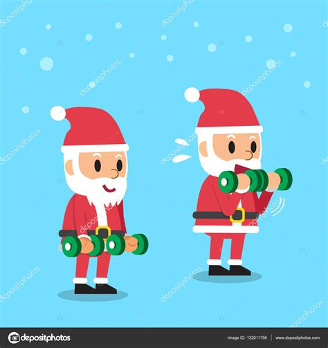 Imagenes De Santa Claus Haciendo Ejercicio | dibujos animados papa noel haciendo mancuerna b 237 ceps rizos