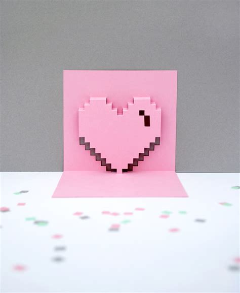 pixelated pop up card template pdf popup pixel valentines card 2013 new improved minieco