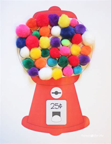 How To Make A Paper Gumball Machine - gumball machine color matching with craft pom poms