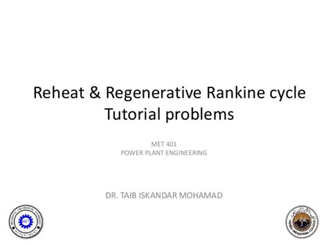 tutorial questions on thermodynamics tutorial questions reheat rankine cycle