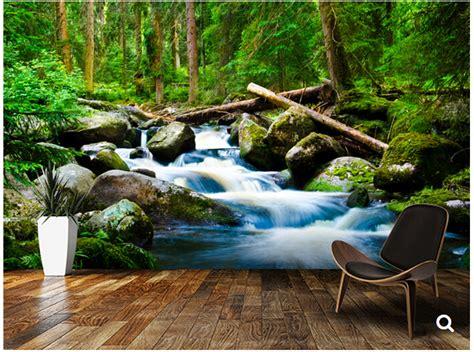 wallpaper pemandangan alam 3d kustom pemandangan alam wallpaper kayu dalam 3d foto