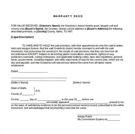 sample warranty deed form template documents