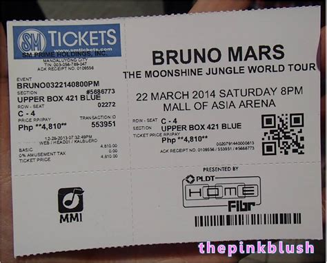 How Much Is A Ticket To World Bdj Box Prize A Ticket To The Bruno Mars The Moonshine