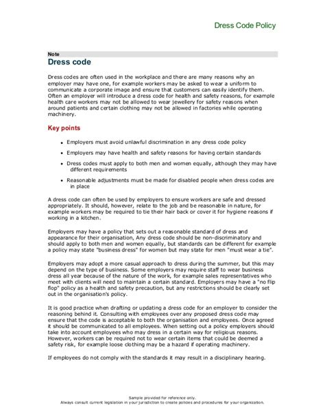 Office Dress Code Policy Template canadian dress code policy for offices
